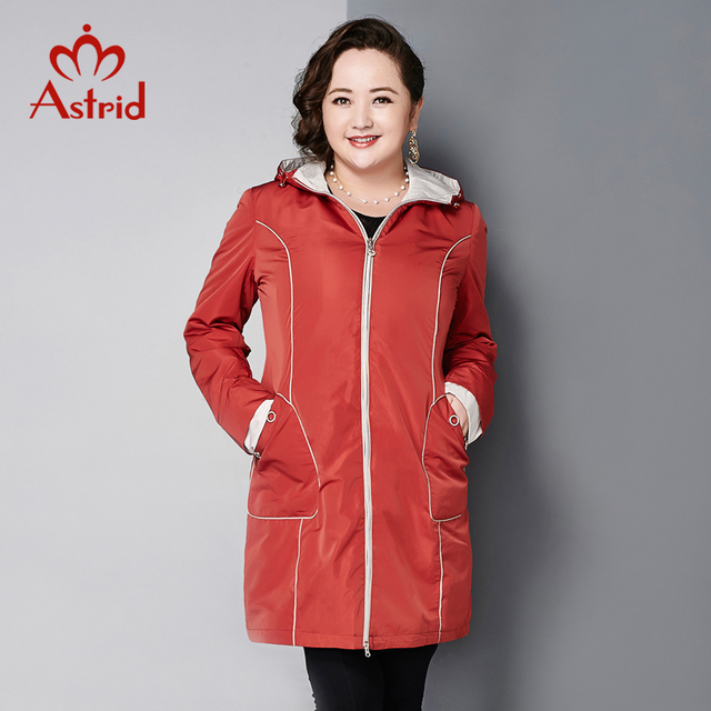 Astrid 2015 Women's Coat High Quality Autumn And spring Trench Coat For Women Slim Hooded Fashion Big Size AY-5830