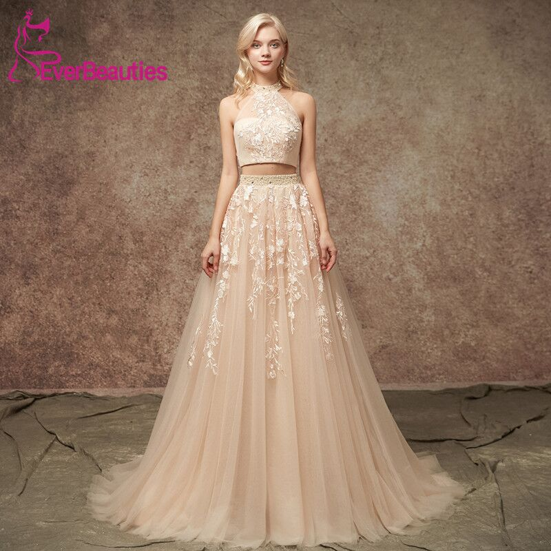Two Pieces Evening Dresses Long Tulle Appliqued Dresses Bling Evening Gowns Prom Party Gowns Crystal Floor Length