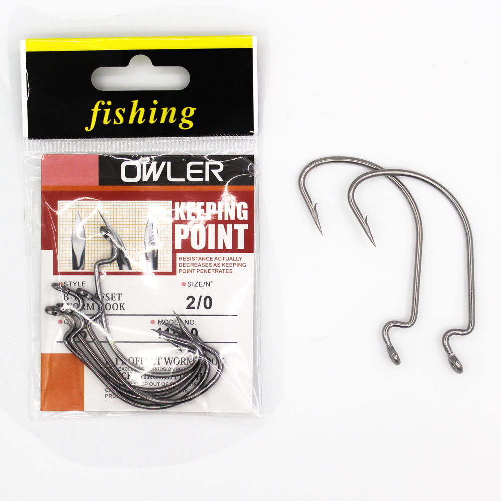 1 pack 5 0 6 B 11 Offset Worm Hook Fishing Hook 9 Sizes Crank Worm Sharp Hook Fishhook Strength hook owner in Fishhooks from Sports Entertainment