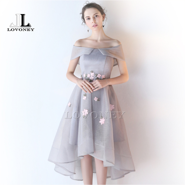 LOVONEY HS210 High Low Boat Neck Prom Dresses 2017 Lace Up Open Back ...