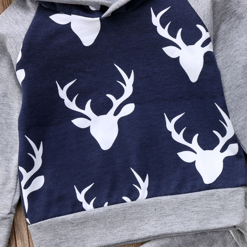 New Casual Newborn Baby Boys Clothes Long Sleeve Print Deer Hooded Tops Sweater Pants Leggings Outfit Set Clothes
