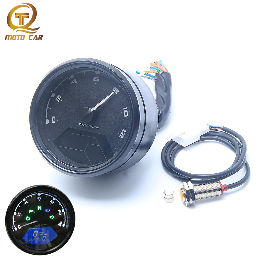 Motorcycle Digital Speedometer Odometer LCD Screen Tachometer Meter Moto Oil 12V Backlight for 1 4 Cylinders