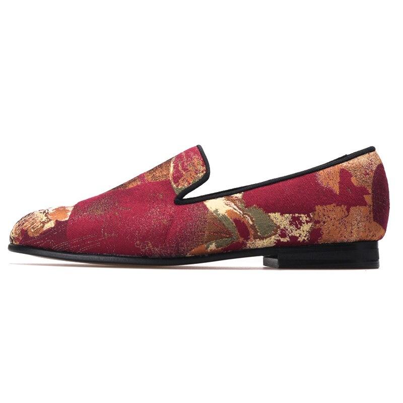 b96fd3a5 Nuevo Los Color Red De Mocasines Planos Zapatos Retro Rojo Partido Tela  Impresión Las Mix Mujer Piergitar Jacquard Mujeres ...