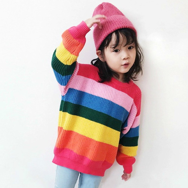 0493a7a44 Kids Autumn Winter Clothes Girls Boys Sweaters Colorful Stripe ...