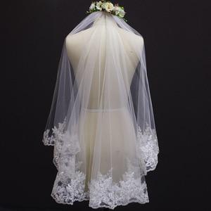 Image 5 - Voile de mariage court, bord en dentelle, une couche, avec peigne, élégant, accessoire de mariée blanc ivoire, nouveau