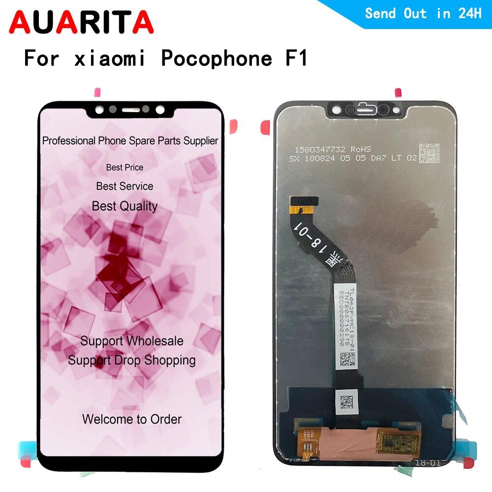 "5 unids/lote 6,18 ""LCD para Xiaomi pocofone F1 poco F1 pantalla LCD + panel táctil Montaje del digitalizador de pantalla de cristal exterior con marco"