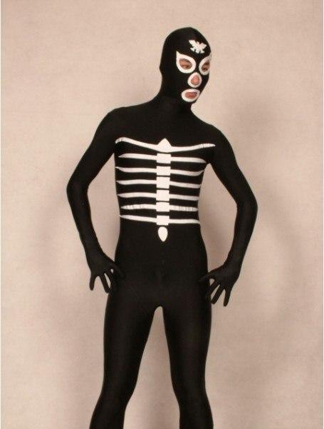 2012 Bruin Skelet/skull Full Body Lycra Spandex Zentai Scary Kostuum Bodysuit Voor Kinderen Bekwame Productie