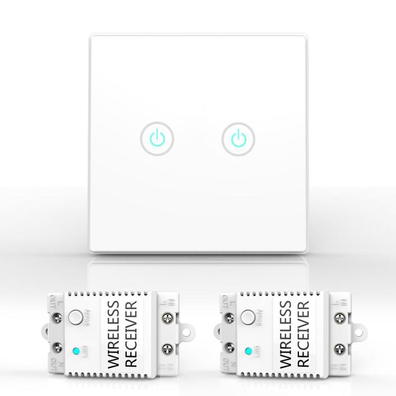 Wireless Lights Switch Kit 2 Gang Crystal Glass Panel Remote Control LED indicator touch Screen Switch AC 100-240V White Black 2017 new smart home black crystal glass panel 1 circuit us plug light touch and remote control screen switch with led indicator
