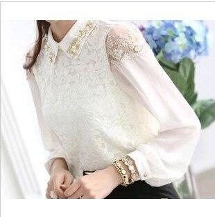 Special Offer Regular Solid Formal Blouse Blusas Autumn All-match Long-sleeve Chiffon Top Women Lace Basic Shirt