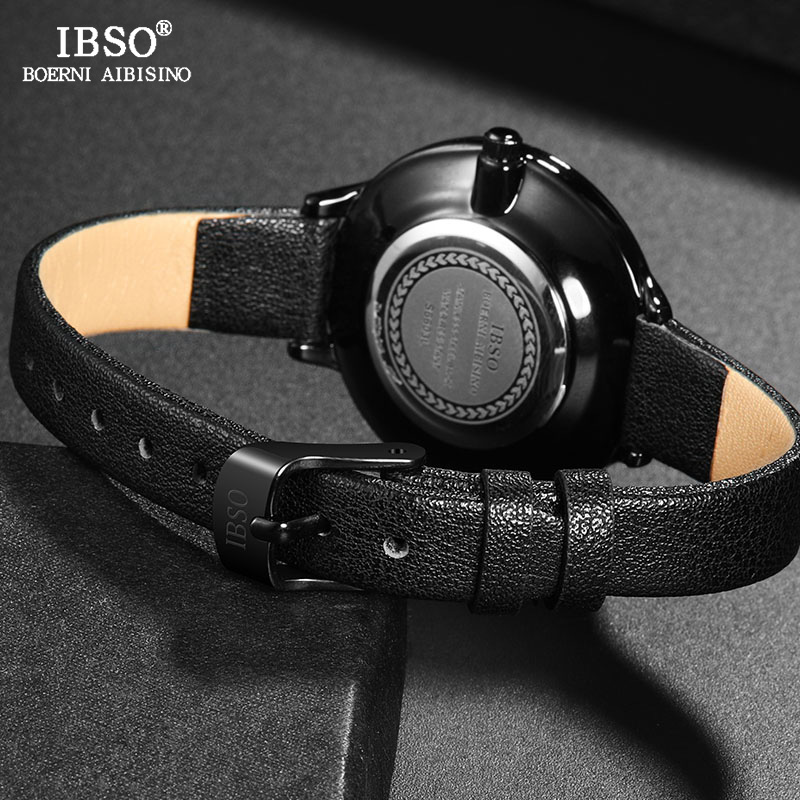 IBSO Original Watches Women Designer Leather Wrist Watches Ladies Creative Dial Quartz Watch For Women 2019 Reloj Mujer 6609 in Women 39 s Watches from Watches