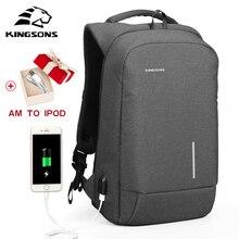kingsons laptop backpack 13 15 인치 학교 가방 남자 안티 절도 배낭 usb mochila 남성을위한 방수 레저 여행 가방