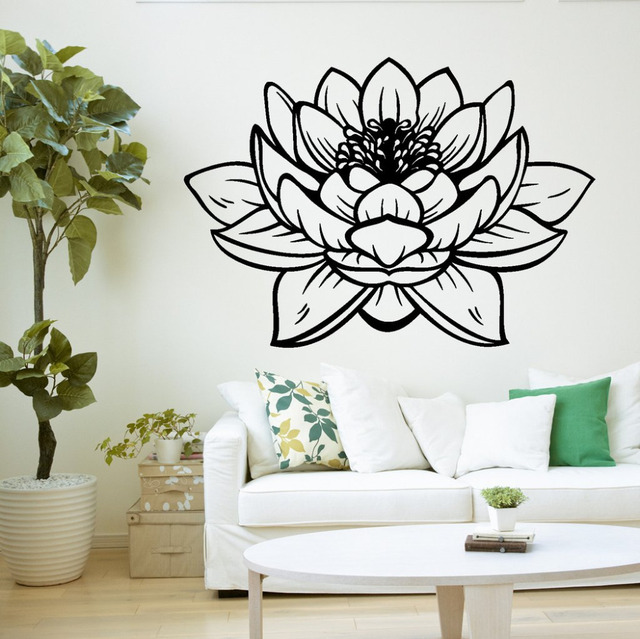 Yoga Studio Meditation Vinyl Wall Stickers Decor Lotus Flower Buddha
