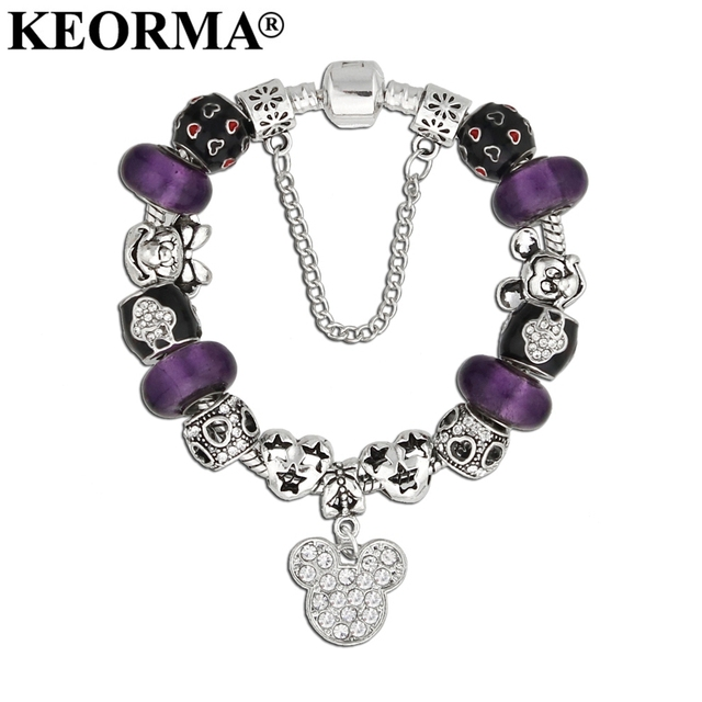 Keorma Silver Color Crystal Mickey Minnie Mouse Charms Bracelet Gl Beads Bracelets Women Fashion Jewelry Sweet