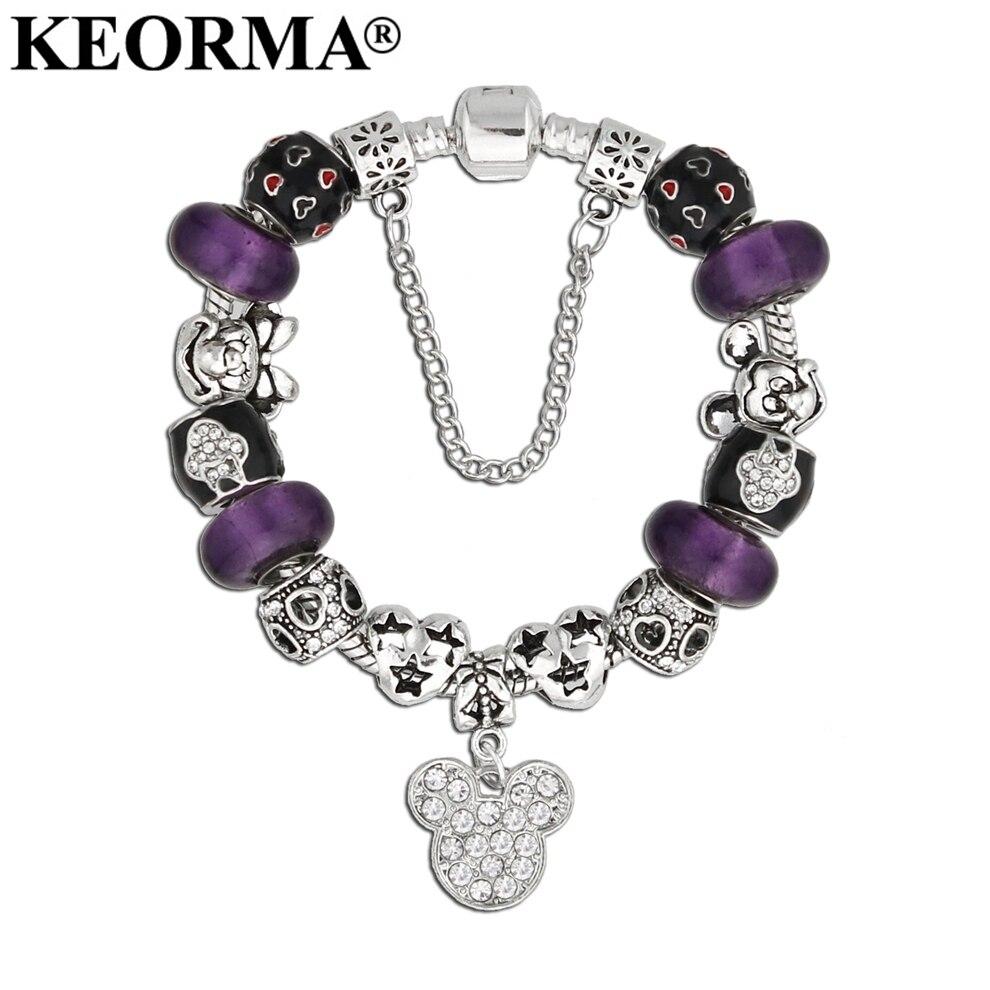KEORMA Silver Color Crystal Mickey Minnie Mouse Charms Bracelet Glass Beads Bracelets Women Fashion Jewelry Sweet Gift