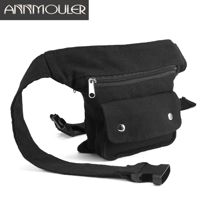 Annmouler Brand Women Fanny Pack Large Capacity Waist Bags Canvas Belt Bag Side Fanny Bag Multipockets Phone Pouch For Girls