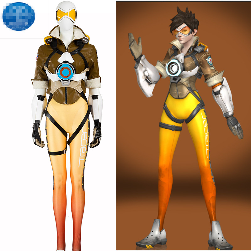 De Hot Game OW Tracer Cosplay Kostuum Huid Leotard Uniform Cosplay - Carnavalskostuums
