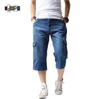 1a0dbc8ca Idopy Classic hombres Cargo Jenas Shorts Patchwork bolsillo Vintage lavado  hasta la rodilla pantalones cortos de mezclilla para hombre Pantalones ...