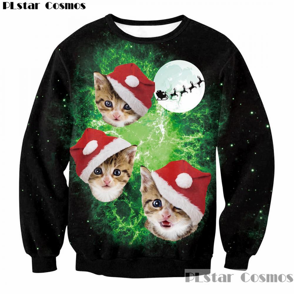 2018 Newest Cute Santa Cats with hats 3D Print Sweatshirts Men/Women Merry Christmas Fashion Female Clothing Cartoon Pullovers