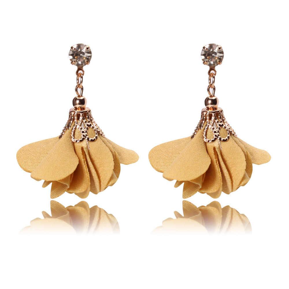 2018 Fashion Crystal Fabric Rose Flower Earrings Jewerly brincos borla Red Tassel Drop Tassel Earrings Dangle