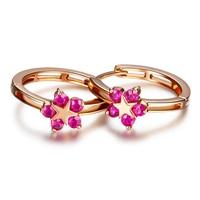 925 Sterling Silver Earrings Hoa Đỏ Cz Rose Gold Stud Earrings Phụ Nữ 2017 HER218