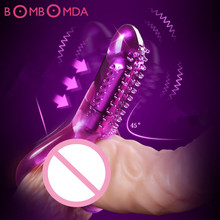 Dual Vibrating Cock Ring Penis Ring Bullet Vibrator Penis Sleeve Time Delay Extender Pussy Massager Chastity Sex Toys For Men