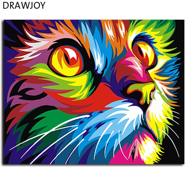 Abstrakt Gerahmte Ölfarbe DIY Malen Nach Zahlen Färbung Durch Zahlen Bunte Tiere Dekoration 40*50 cm GX4228