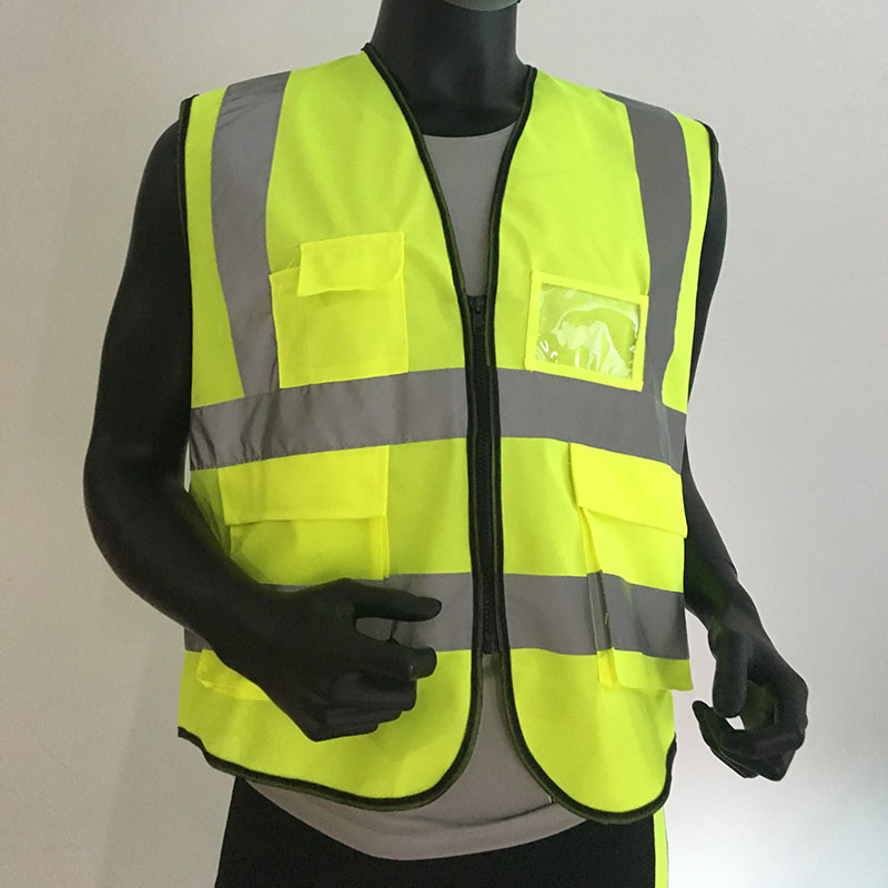 Best High visibility reflective safety vest reflective vest multi pockets workwear safety waistcoat fluorescence yellow high visibility
