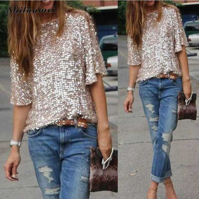 placeholder 2018 Fashion Women Sexy Loose Off Shoulder Sequin Glitter  Blouses Summer Casual Shirts Vintage Streetwear Party f3c0a5a8534b