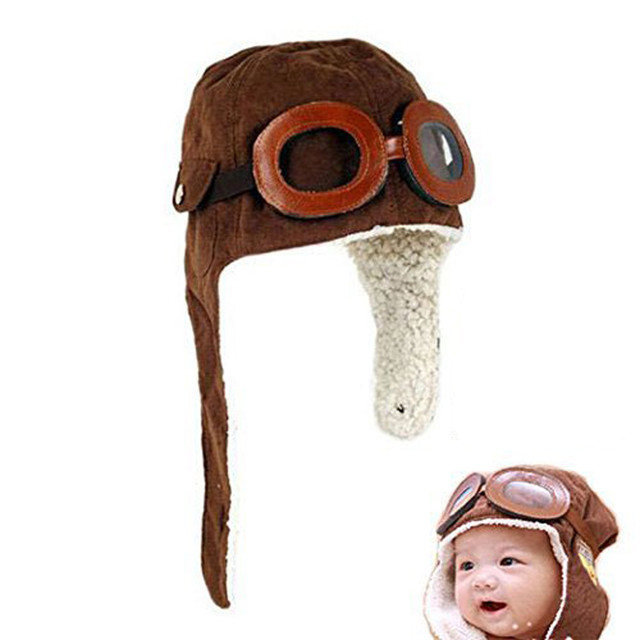 Baby Infant Kid Soft Warmer Winter Hat With Goggles And Aviator-inspired newborn photography props kombinezon zimowy dziecko