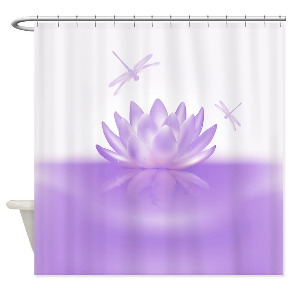 Warm Tour Purple Lotus and Dragonflies Shower Curtain Fabric Polyester Waterproof Bathroom Curtains