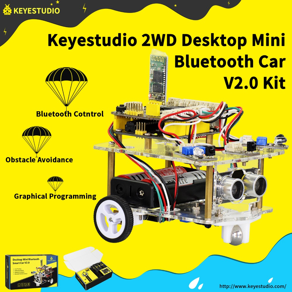 NEW!Keyestudio 2WD Desktop Mini Bluetooth Robot Smart Car V2.0 Kit For Arduino Robot Starter STEM (NO Battery)