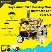 NEW!Keyestudio 2WD Desktop Mini Bluetooth Robot Smart Car V2.0 Kit For Arduino Robot Starter STEM (NO Battery) недорого