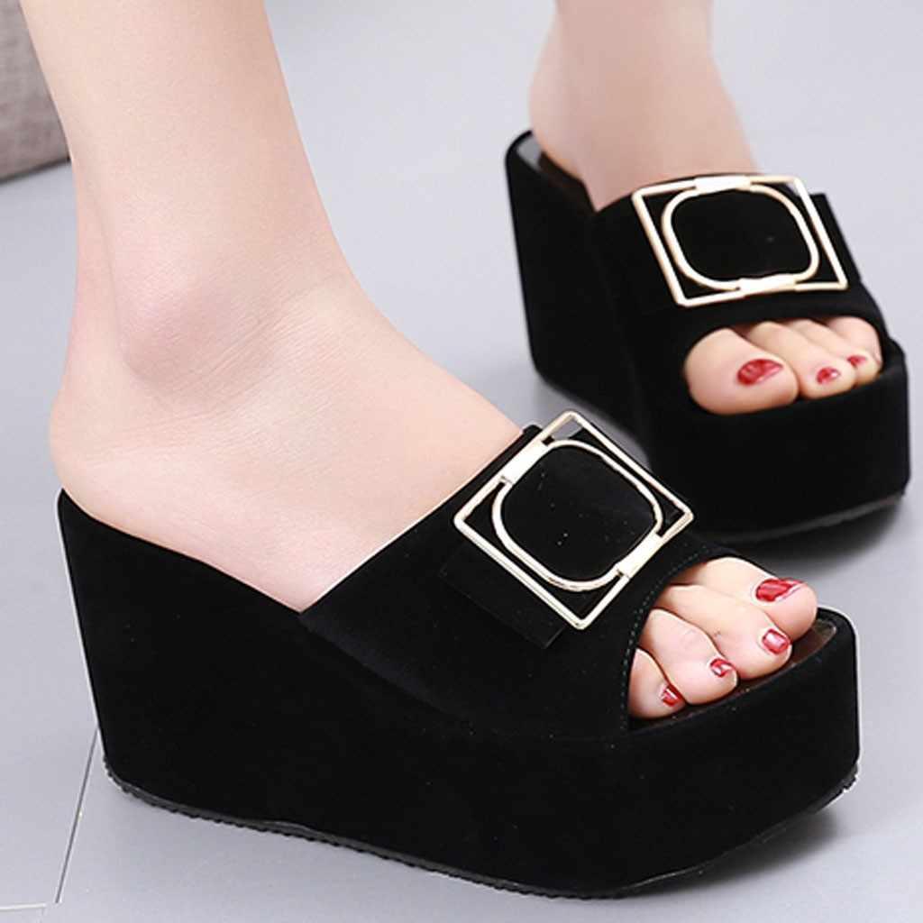 SAGACE kadınlar yaz açık ayak takozlar terlik seksi yüksek kalite dışında yaz bayan ayakkabıları plaj yürüyüş ayakkabıları sandalet rahat ayakkabılar