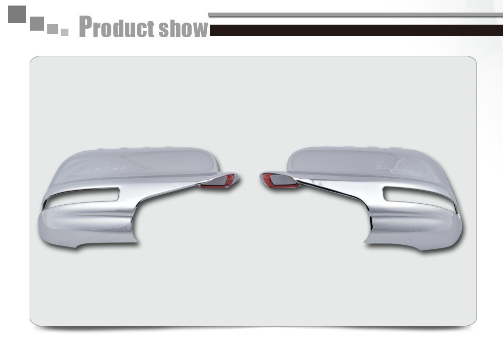 ABS Plating Chrome Mirror Cover For Ford Explorer 2012 2013 FULL With Turn Signal Light Cutout For North And South American b