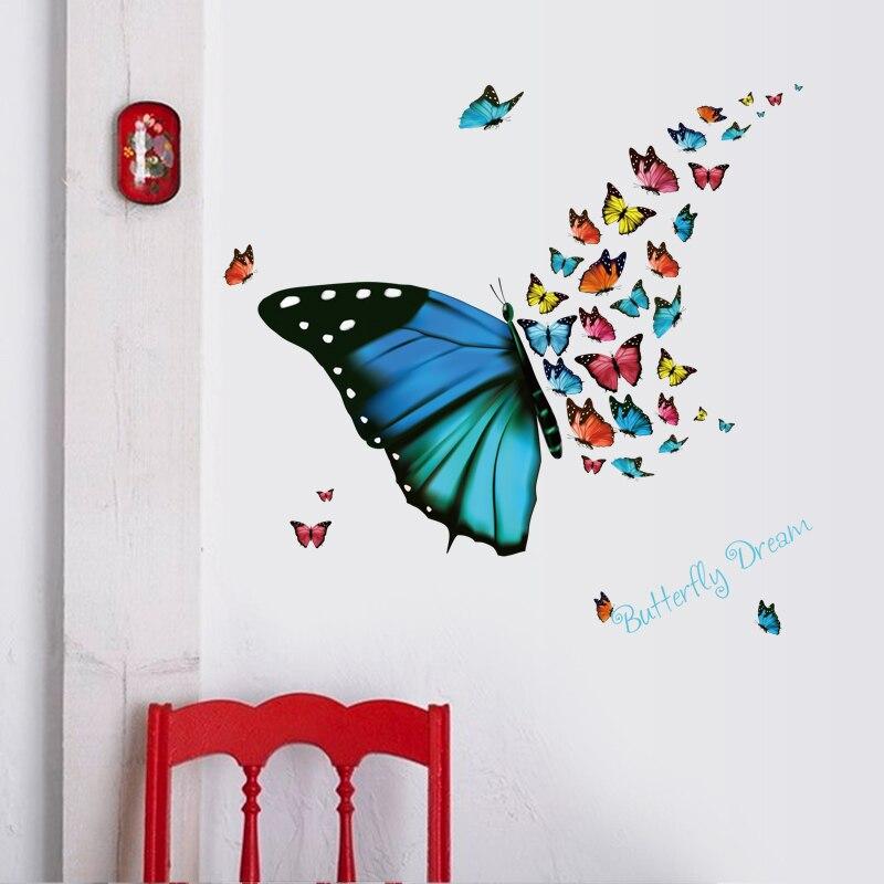 Pegatinas de mariposas para pared, coloridas, de vinilo, para decoración del hogar, calcomanías artísticas, papel tapiz 3D