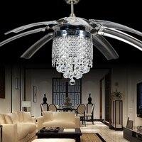 Luz moderna para ventilador de techo de cristal  con 8 hojas de acrílico transparentes plegables  control remoto y luz Invisible de 42
