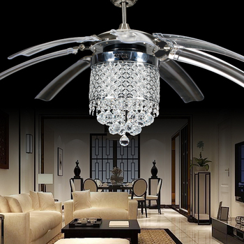 Crystal Ceiling Fan Light with 8 Foldable Transparent Acrylic Leaves w/remote control