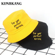 0e728db7d72 New Two Side Yellow Embroidery Bucket Hat For Men Women Fishing Sun Hat Bob  Panama Cap Hip Hop Gorras Summer Beach Bucket Caps