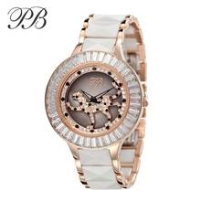 New Ceramic Watch Women PB Brand Luxury Fashion Casual Quartz Watch Rotatable Leopard Dial Stainless Steel Dress Watches HL593