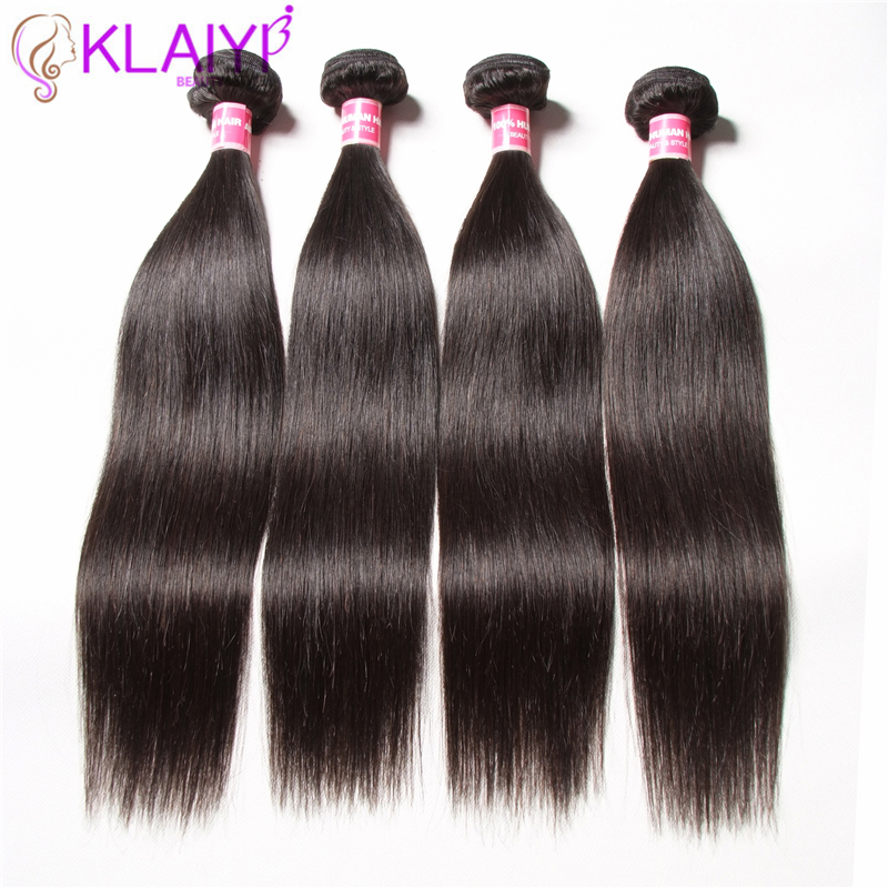KLAIYI 4 Bundles Brazilian Straight Hair Extensions Natural Black Color 100% Human Hair Weaves Can Be Dyed Remy Hair Weaving