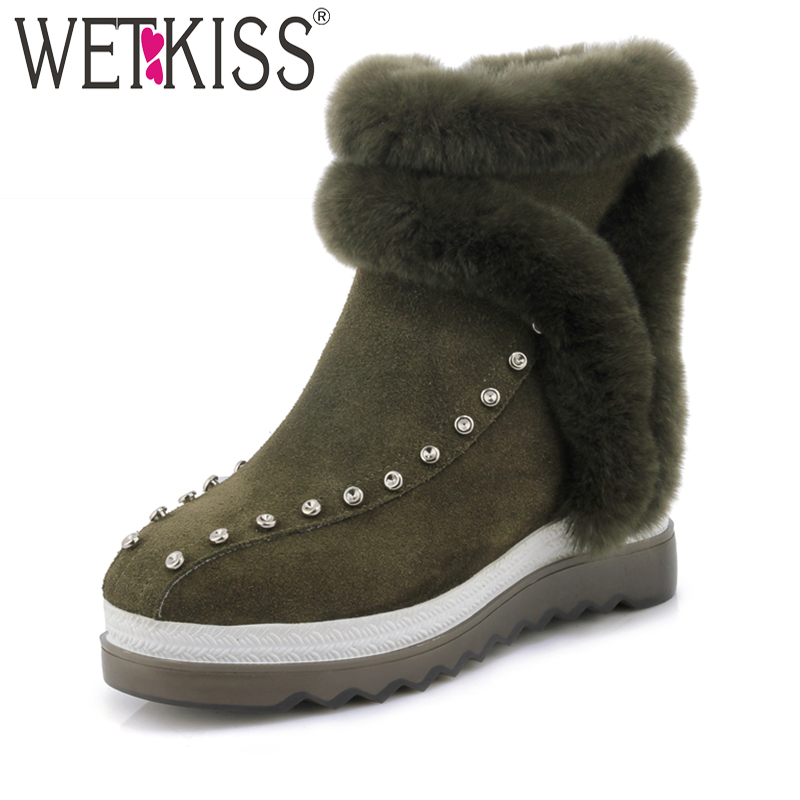 WETKISS Brand Designers Rivet Ankle Boots Warm Fur Platform Winter Boots Rubber Sole Female Shoes Woman Height Increasing Zip