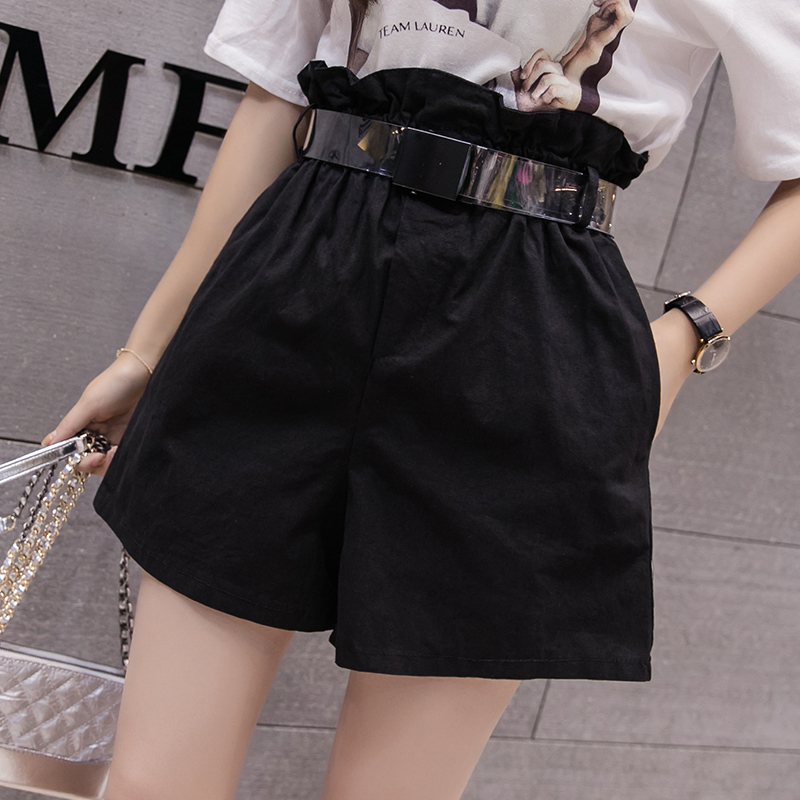 Summer Women's   Short   Pants High Waist Wide Leg   Shorts   Korean Casual Loose Pockets   Short   PantsWomen Clothes Solid   Short   Feminino