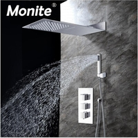 Bathroom 3 Function Square Head Shower Faucet Chrome Finish Brass Made Shower Set 8 Inch Rainfall Shower Head Mixer Faucet