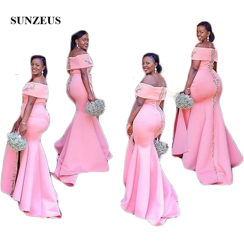 African Wedding Gown: Pink Satin Bridesmaid Dresses Off The Shoulder Boat Neck