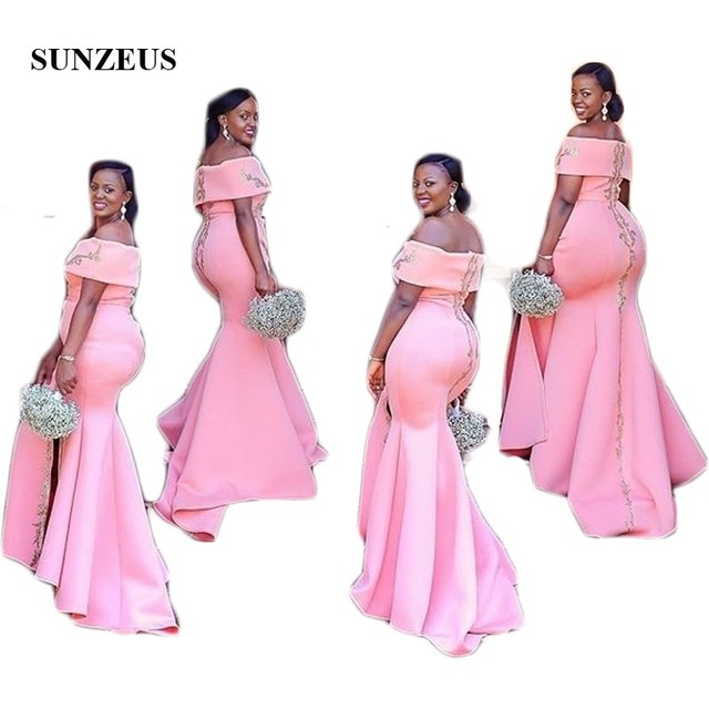 Us 146 0 Pink Satin Bridesmaid Dresses Off The Shoulder Boat Neck African Wedding Guest Dresses Gold Appliques Leg Slit Prom Gown Sbd127 In