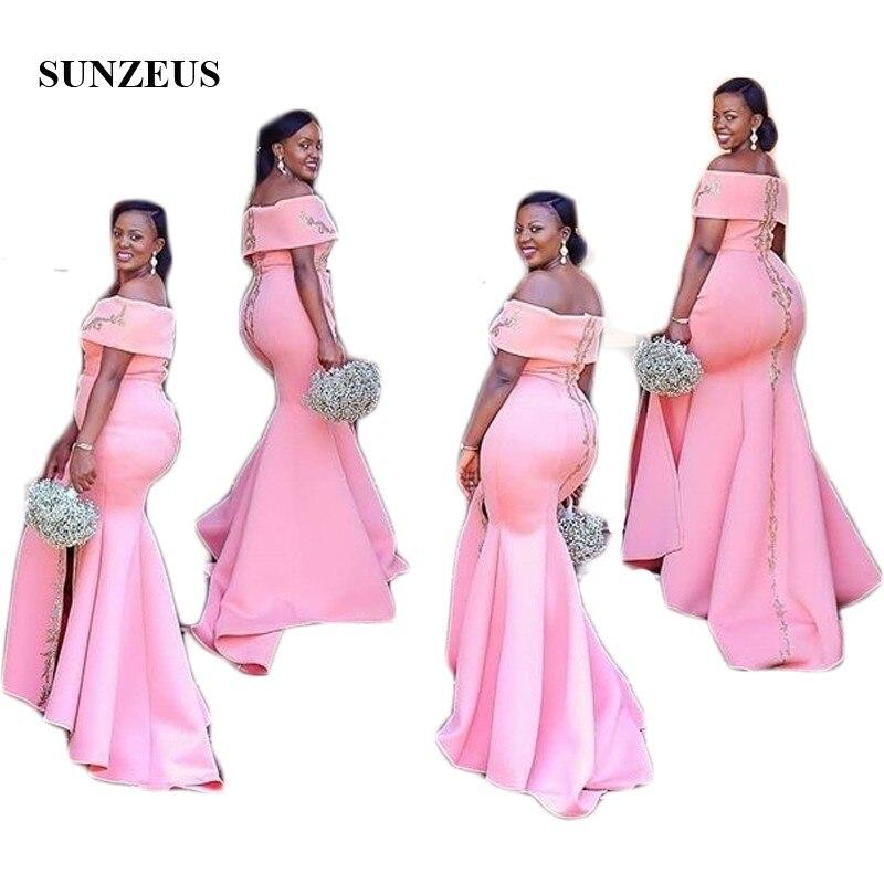 Roze Satijnen Bruidsmeisje Jurken Uit De Schouder Boothals Afrikaanse Bruiloft Gast Jurken Gold Applicaties Been Slit Prom Gown Sbd127