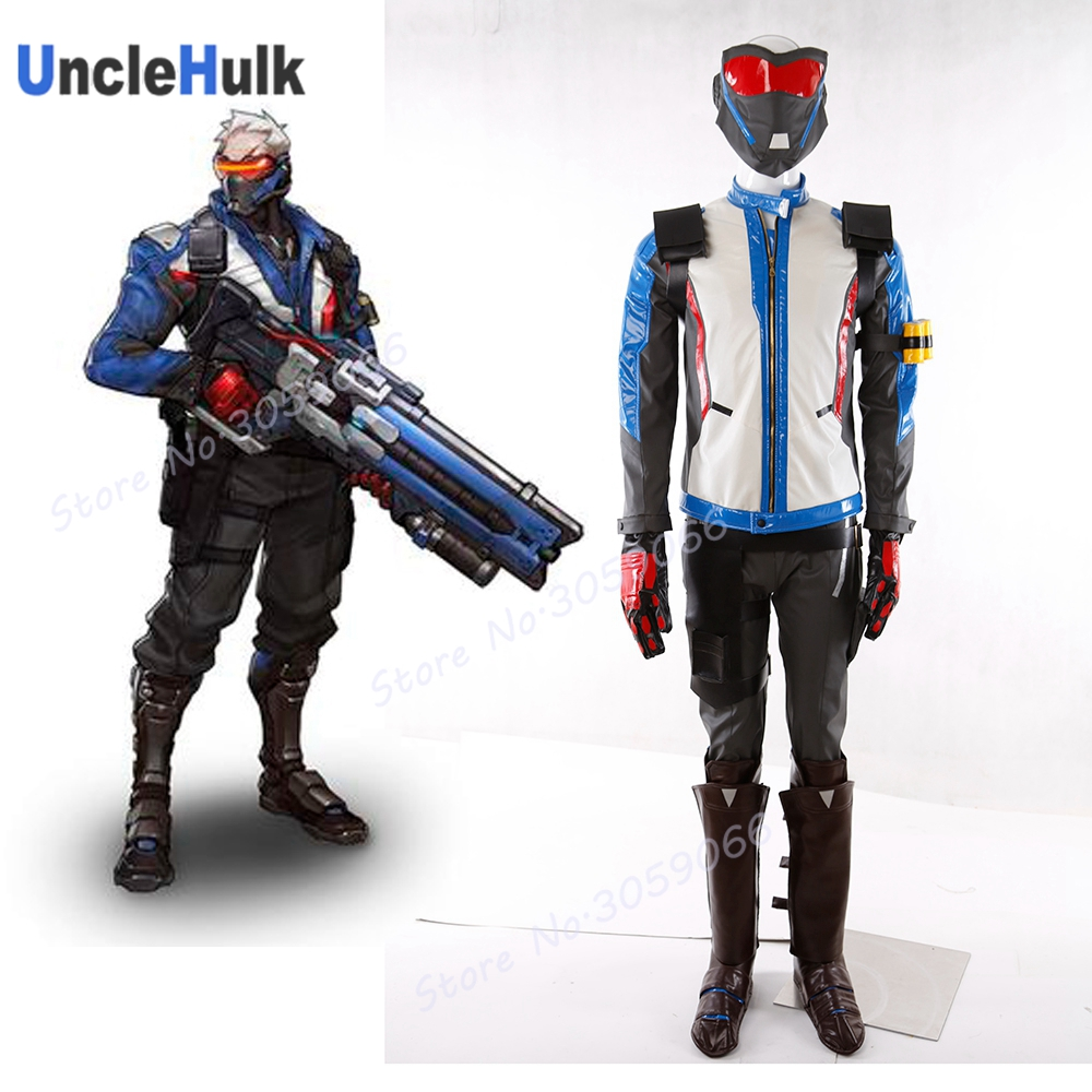 2017 High Quality OW Soldier 76 Costume Full Set with Boots Mask Halloween Cosplay Costume TypeB | UncleHulk