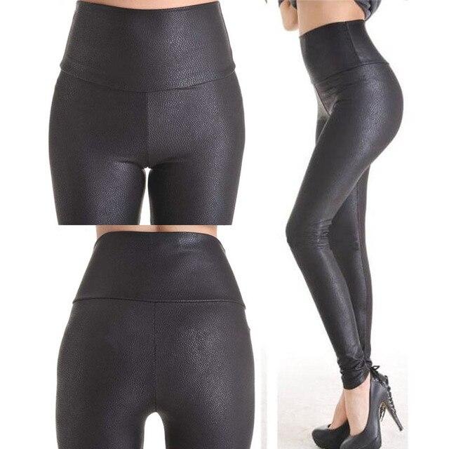 2018 New Sale Fashion Serpentine Sexy Leggings Womens Leggins Stretch High Waist quality Faux Leather Pants Plus Size YAK0010 4