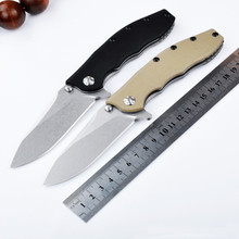 High Quality 9CR13MOV Folding Knife Blade Stone Washed G10+Steel Plated Black Handle Tactical  Hunting Camping Outdoor Tools