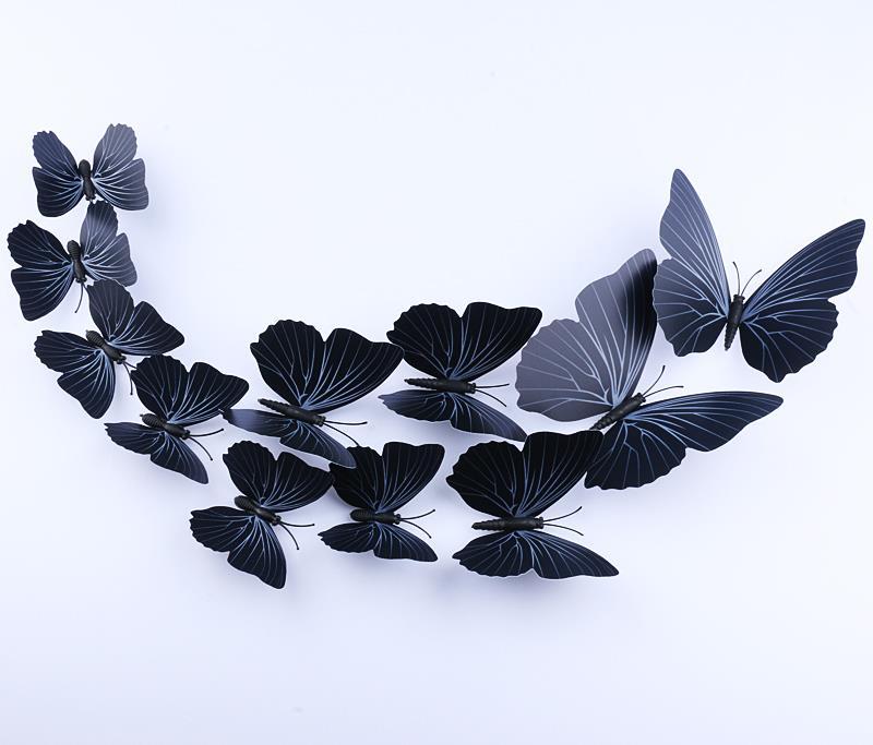 12 unid Casa 3D mariposa pegatinas de pared con el Imán, simple Brillante diseño